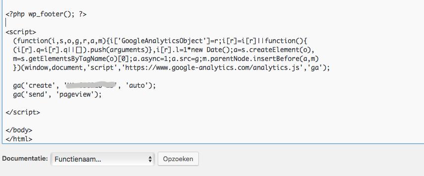 Google Analytics code in de footer plakken